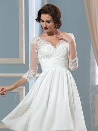 lace 3 4 length sleeve short wedding dress tbdress com