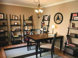 transitional home office with ladder shelves basic home office