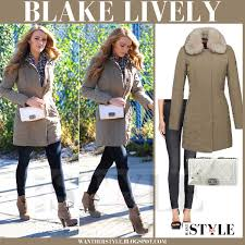 blake lively in beige fur collar peuterey metropolitan parka and skinny jeans j brand 620 what
