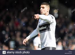 LONDON, ENGLAND - APRIL 13: Aleksandar Mitrovi? of Fulham FC reaction  during the Premier League match between Fulham FC and Everton FC at Craven  Cottage on April 13, 2019 in London, United