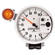 5 pedestal tachometer 0 10 000 rpm shift light silver auto gage