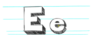 how to draw 3d letters e uppercase e and lowercase e in 90 seconds you