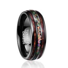 Tungsten Carbide Ring Size Chart Us 28 07 50 Off Nuncad Width 8mm Dome Black Acacia Wood Opal Tungsten Carbide Mens Ring Engaged Wedding Rings For Lovers T097r In Engagement Rings