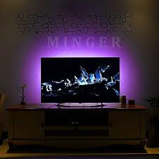 tv accent lighting. minger led strip lights kit 4 precut one foot strips 3 wire mounting clips 44 key mini remote control multicolor rgb home accent tape light for tv lighting