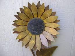 nice looking sunflower wall art metal garden rusty zoom decor decals stickers uk