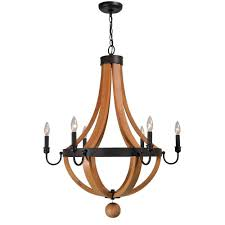 world imports taylor collection 6 light rust wood indoor chandelier