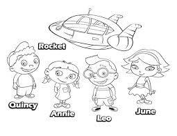 Small Picture Quincy Leo Annie June and Rocket in Little Einsteins Coloring Page