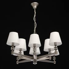chandelier in satin nickel with fabric shades save