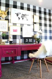Black and white office decor Black Study Table Pink Office Decorating Ideas How To Buffalo Checkered Gingham Checkered Wall Black White Wallpaper Tutorial Spring Decor Design Trends Decorating Styles Pinterest Pink Office Decorating Ideas How To Buffalo Checkered Gingham