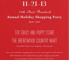 Annual 10th Street Holiday Shopping Party 10th Street Preschool