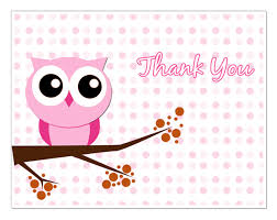 Cute Pink Girl Owls Baby Shower Thank You Gifts  TShirts Art Owl Baby Shower Thank You Cards