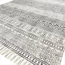 3 x 5 ft black off white cotton block print area accent dhurrie rug flat
