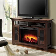 freestanding electric fireplace tv stand in burnished oak