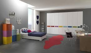 Grey Teenage Girl Bedroom Paint Color With Colorful Shelves And ...