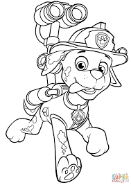 Paw Patrol Marshall With Water Cannon Coloring Page Free Printable