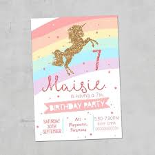 Birthday Party Invitation Unicorn Rainbow Personalised Party Invites Birthday Invitations X10