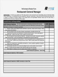 Restaurant Employee Performance Review General Manager Performance Reviewlate Free Employeelates