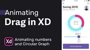 Drag Ui Animation In Adobe Xd Animating Numbers With Circular Graph