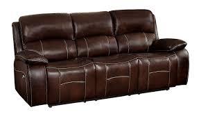 com homelegance mahala power double recliner sofa top grain leather match vinyl brown kitchen dining