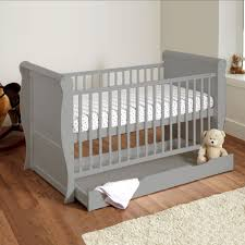 4baby sleigh deluxe cot bed with storage drawer sprung mattress grey at 4baby