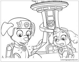 Paw Patrol Zuma And Sky Coloring Page Free Coloring Paw Patrol