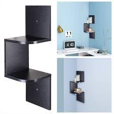 amazing floating corner shelf 2 3 5 tier wall wood zig zag display rack ikea white