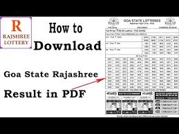 Rajshree Result Chart How To Download Goa Rajshree Lottery Result On Computer In