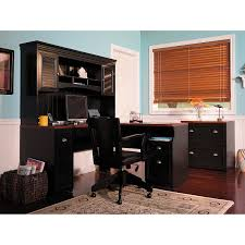 bush cabot l shaped desk with hutch in black with drawer and computer set plus black