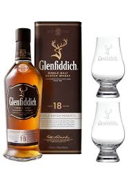 glenfiddich 18 year old whisky gift set with two glencairn nosing and tasting gles