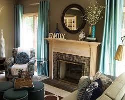 Furniture, Contemporary Teal Living Room Accessories Like Curtains Also  Classic Fireplace Design With Mosaic Tiling