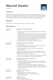 Engineer And Quality Manager Resume samples
