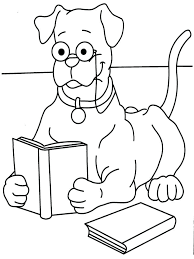 coloring dog reading book coloring printable page games for s