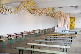 ceremony ribbon room ceiling decor benches creative diy industrial warehouse wedding