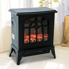 details about electric stove fireplace vintage rustic fire heater log burner real flame effect