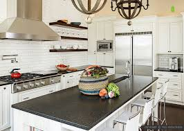 black countertop white subway tiles