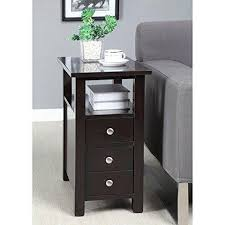 chair side table. modern narrow nightstand wooden dark espresso wenge chair side table with 2-storage drawers