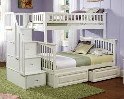 Atlantic Furniture White Twin Full Staircase Bunk Bed and Kids Bedroom  Furniture from the columbia collection