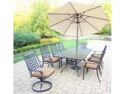 belmont aluminum 11 pc patio dining set includes 84 x 42 inch rectangular table 6 stackable chairs 2 swivel rockers with fade and mildew resistant