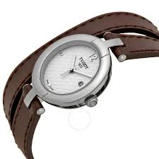 tissot trend silver dial brown leather las watch t0842101601703
