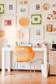 bright colorful home. home office with bright orange accents colorful r