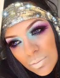 afbeeldingsresultaat voor seventies disco makeup purple green 70s