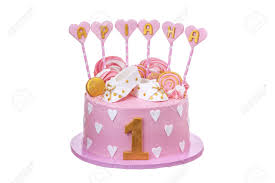 Delicious Cake For Baby Girls For Baptism Stock Photo Picture And