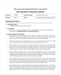 Hospital Security Incident Report Example Writing Format