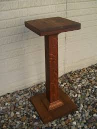 vintage plant stand mission style arts and crafts tiger oak wood pedestal  furniture antique home decor