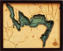 Lake Waramaug 3 D Nautical Wood Chart 16 X 20