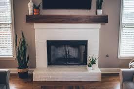 Brick Fireplace Mantel Modern White Brick Fireplace Walnut Mantel Diy The Southern Trunk