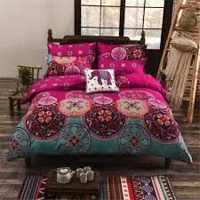 national bohemia recto prune reversible duvet cover bed sheet with pillowcase boho mandala bedding set twin full queen king size boho gipsy