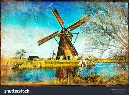 windmills of holland artwork in painting style