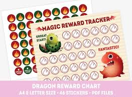 Toddler Good Behavior Sticker Chart Dragon Reward Chart Good Behavior Chart 48 Reward Stickers Printable Kids Reward Chart For Girls And Boys Toddler Discipline Chart
