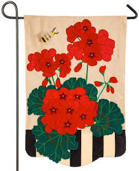 red geraniums applique garden flag